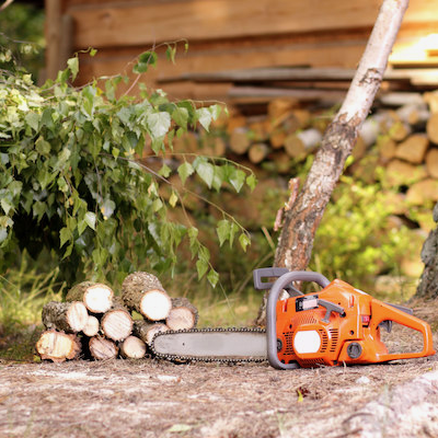 Picutre of a chainsaw and logs cut up for a customer in Schaumburg, IL